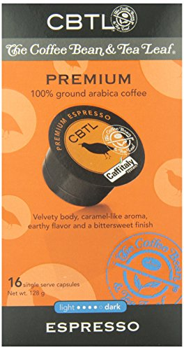 CBTL Scanty Espresso Capsules By The Coffee Bean & Tea Leaf, 16-Count Box