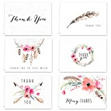 Boho Spirit Thank You Card Assortment Pack - Set of 36 cards blank inside - 6 designs blank inside - with white envelopes