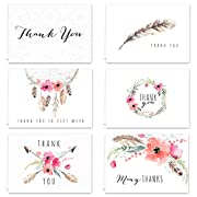 Boho Spirit Thank You Card Assortment Pack - Set of 36 cards blank inside - 6 designs blank inside - with white envelopes
