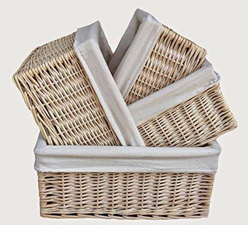 White Lined Storage Wicker Baskets Set 4 by Red Hamper