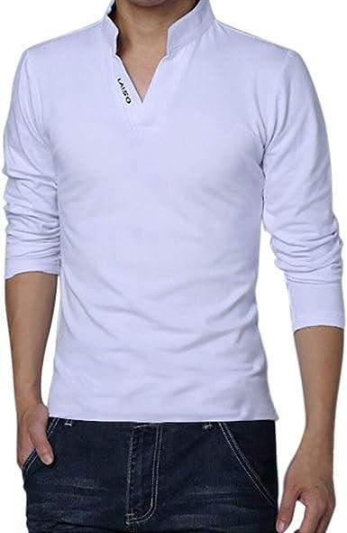 Gusspower Camisas para Hombres Manga Larga con Cuello V Tallas Grandes Casual Blusa Suelta Sueltas Deportivas Sudadera: Amazon.es: Ropa y accesorios