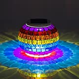 MerryNine Solar Powered Mosaic Glass, Solar Table Lamp Color Changing Glass LED Rechargeable Solar Night Lamp Waterproof Solar Outdoor Lights for Home,Yard, Patio, Party Decorations (Grilles-Rainbow)