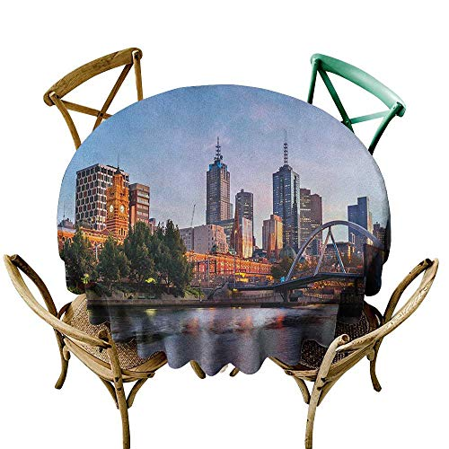 Wendell Joshua Picnic Tablecloth 60 inch City,Early Morning Scenery in Melbourne Australia Famous Yarra River Scenic, Orange Green Pale Blue Suitable for Indoor Outdoor Round Tables 84 Melbourne 3 Light