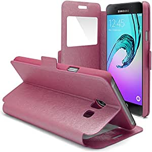 Caseink – Carcasa Funda Folio Stand Samsung Galaxy A3 (2016) Ultra Slim Folio [con ventana View Window] rosa