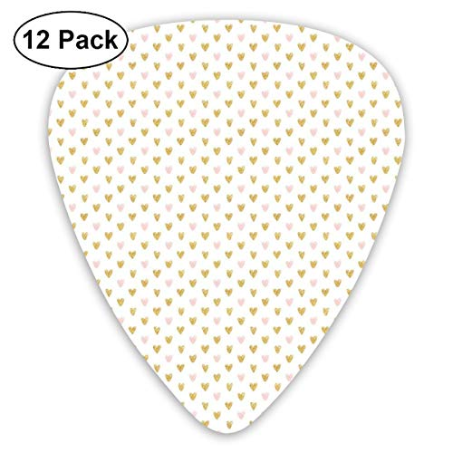 Celluloid Guitar Picks - 12 Pack,Abstract Art Colorful Designs,Evenly Arranged Hand Sketched Hearts Illustration Valentine,For Bass Electric & Acoustic Guitars.