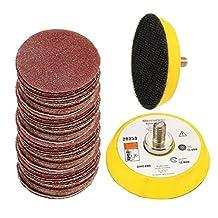 SPTA 2Inch (50mm) Sander Paper Sanding pad Polishing Pad Disc Polishing+ M6 Backer Plate Sets Pack of 100Pcs