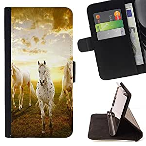For Apple Iphone 5C Clouds Horses Nature Sunset Mustang Beautiful Print Wallet Leather Case Cover With Credit Card Slots And Stand Function