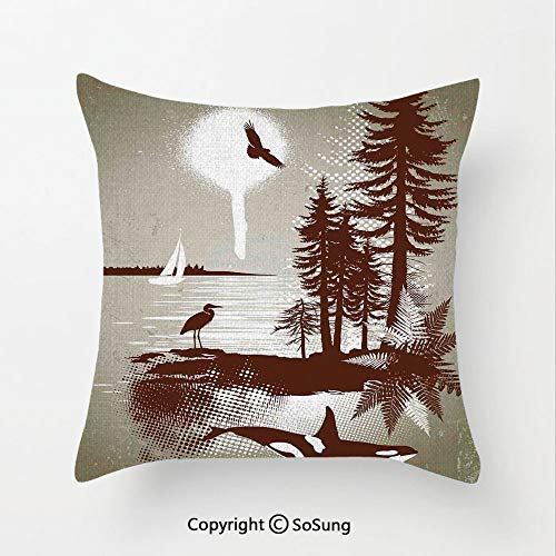 SoSung Sailboat Nautical Decor Linen Throw Pillow Cushion,Detailed Complex West Coast Scenery in Graffiti Style Isolated Nature Decor,15.7x15.7Inches,for Sofa Bedroom Car & Home Decorate Light Brown