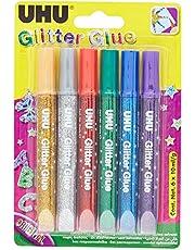 UHU D1549 UH39040 6-Pieces Glitter Glue, 10 ml