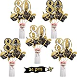 Blulu Birthday Party Decoration Set Golden Birthday Party Centerpiece Sticks Glitter Table Toppers Party Supplies, 24 Pack (80th Birthday)