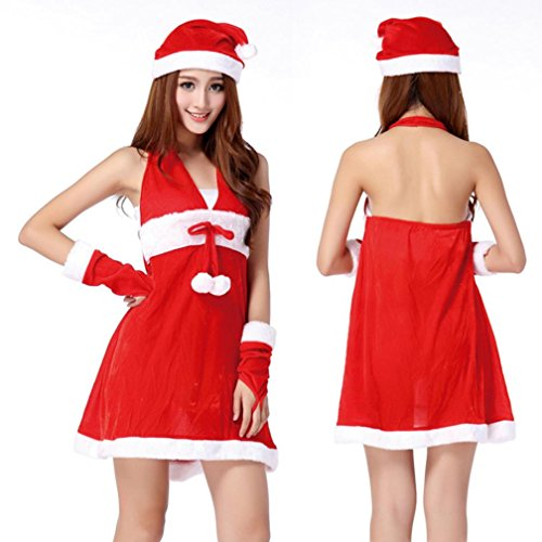 [Christmas Costume Fancy Dress ,BeautyVan Women Sexy Santa Christmas Costume Fancy Dress Xmas Office Party] (Lady Santa Outfit)