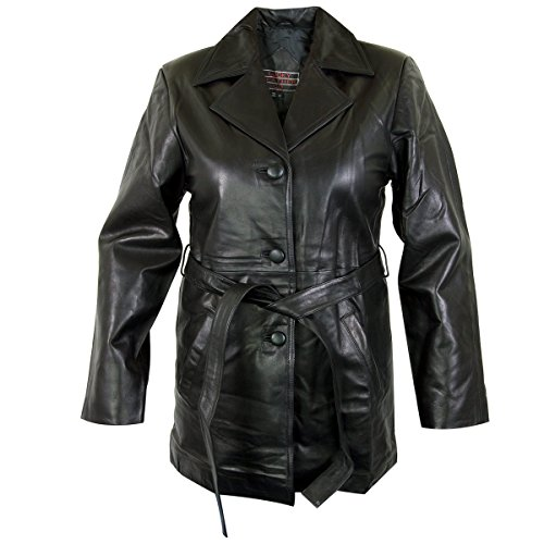 Ladies Lucky Leather 248 Lambskin Leather Coat with 3 Button Closure and Belt - X-Large Ladies Lambskin Leather Coat