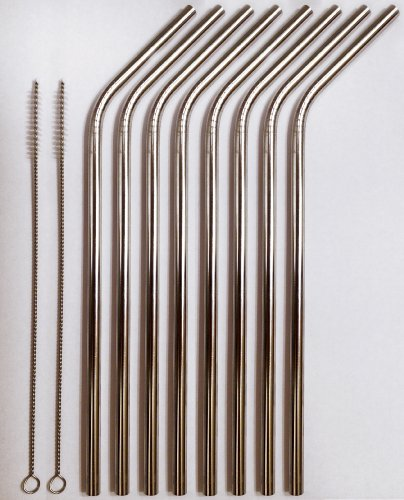 Straw Band - Stainless Steel Drinking Straws- Set of 8 straws + 2 straw Cleaners - FUN! Handy, Elegant, Eco Friendly, SAFE, NON-TOXIC non-plastic or glass