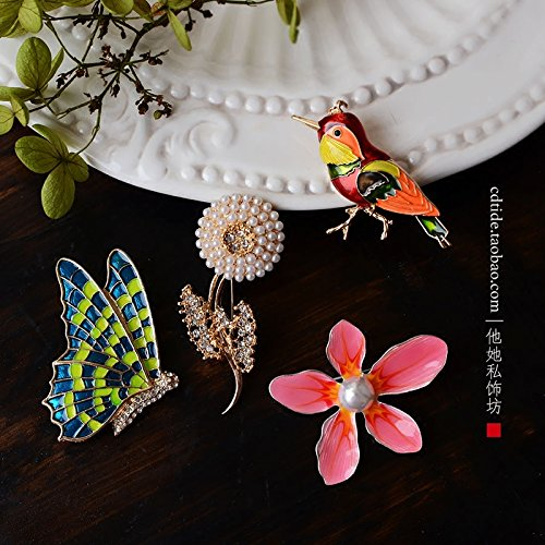 Birds and flowers bloom coincides with glazed enamel imitation pearl brooch