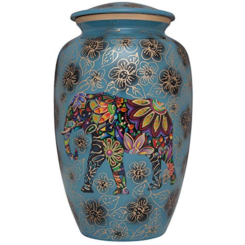 (Blue Funeral urn with Elephant - Floral Spiritual Indian Design - Cremation Urn for Human Ashes - Aluminum -Suitable for Cemetery Burial or Niche - Large Size fits Remains of Adults up to 200 lbs)