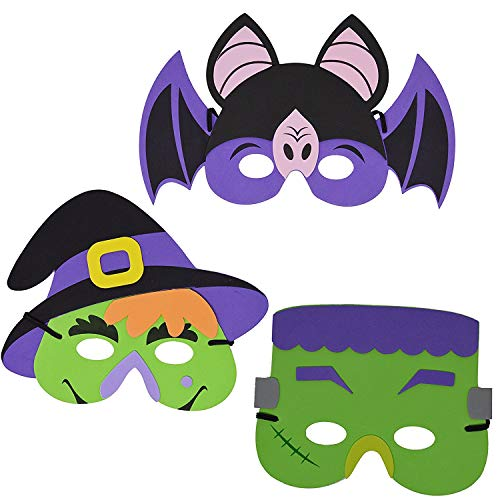 joyin 24 pieces halloween foam mask for kids halloween party favors halloween crafts supplies and