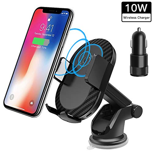 Wireless Car Charger,Sunba Youth Air Vent Phone Holder 10W Charge, 2 in 1 Qi Fast Charger for Samsung Galaxy S9/S8 Plus,S9,S8,S7,S7/S6 Edge,Note 8/5 and Standard Charge for iPhone X,8/8 Plus
