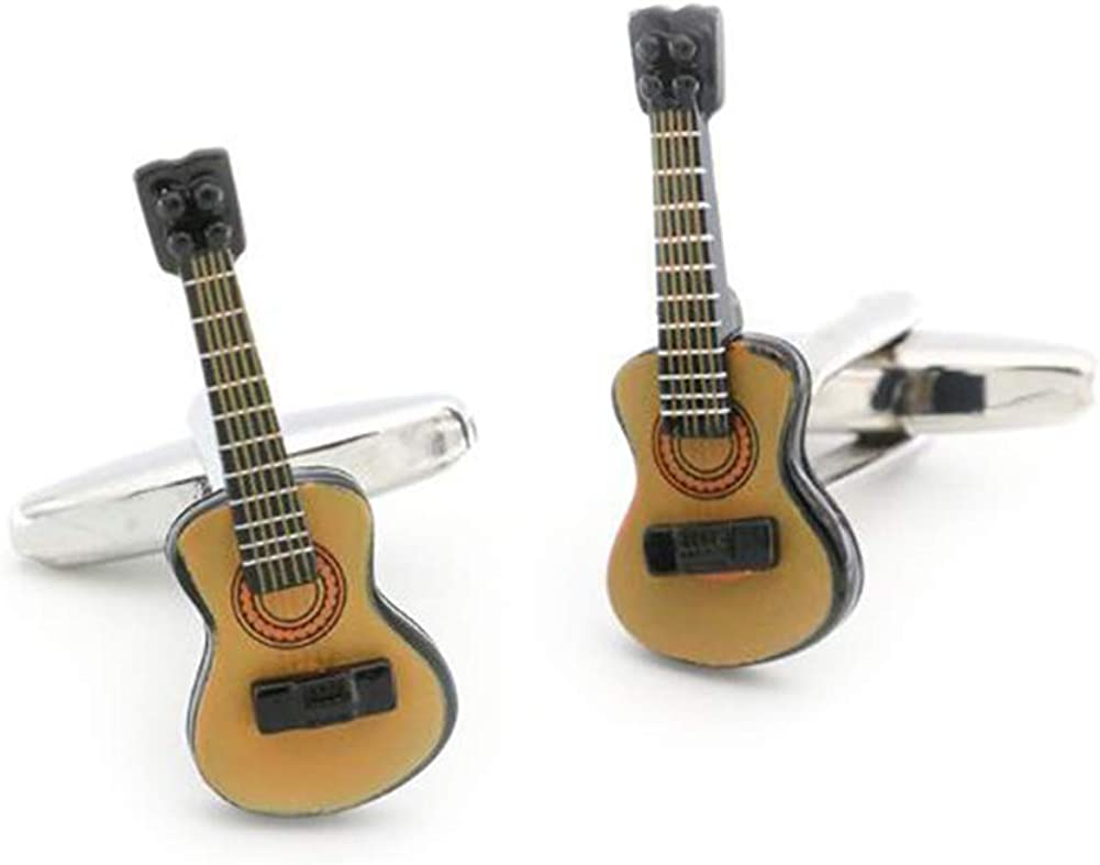 Guitar Cufflinks Electric Guitar Brown Black Cuff Links