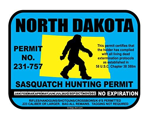 North Dakota Sasquatch Hunting Permit License Bigfoot Vinyl Sticker Decal