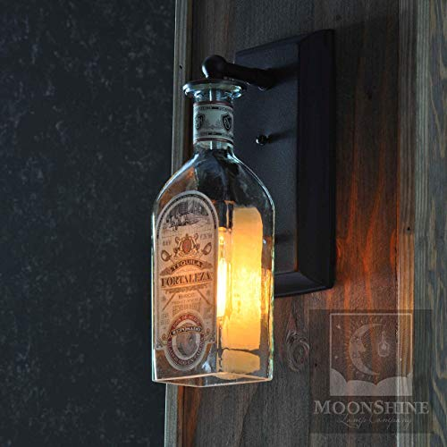 Fortaleza Recycled Glass Tequila Bottle Wall Sconce With Customizable Finish and Vintage Style Edison Bulbs