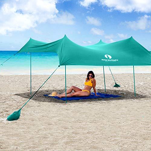 Red Suricata Family Beach Sunshade - Beach Sun Shade Canopy | UPF50 UV Protection | Beach Shade Tent with 4 Lightweight Alum Poles, 4 Sandbag Anchors | Portable Beach Sun Shelter (Turquoise, Large)