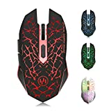 TENMOS K6 Wireless Gaming Mouse, Rechargeable Silent LED Optical Computer Mice USB Receiver, 3 Adjustable DPI Level 6 Buttons, Auto Sleeping Compatible MAC/Laptop/PC/Notebook (red)