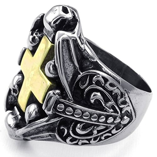 [Bishilin Stainless Steel Fashion Men's Rings Punk Gothic Skull Cross Silver Black Size 13] (The Real Batman Costume For Sale)