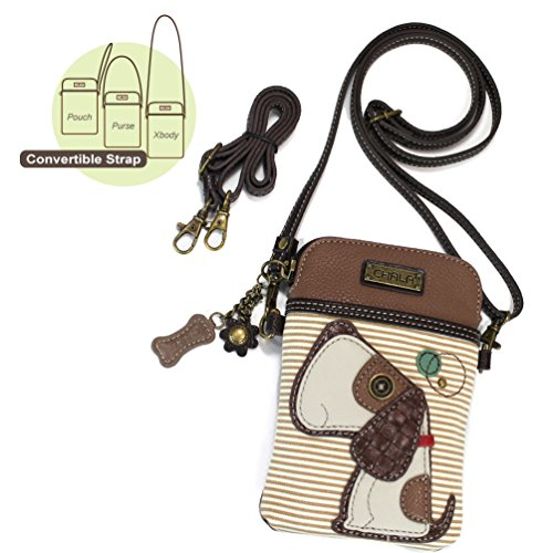 Leather Dog Tote - Chala Crossbody Cell Phone Purse - Women PU Leather Multicolor Handbag with Adjustable Strap (Toffy Dog Striped)