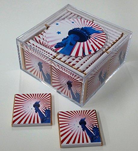 - Patriotic Keepsake Box of 36 Belgian Chocolates. Celebrate National Holidays with a Sweet Treat! (Design: Patriotic Statue of Liberty)