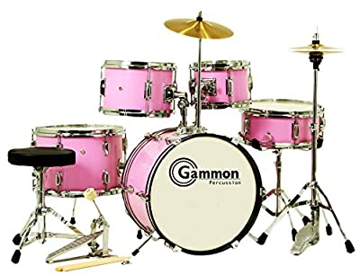 Complete 5-Piece Black Junior Drum Set with Cymbals Stands Sticks Hardware & Stool by Gammon Percussion