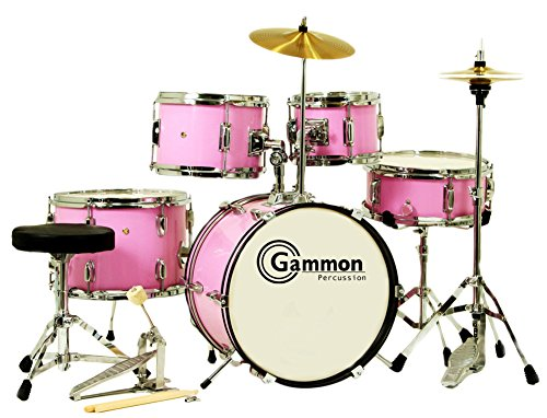 Gammon 5-Piece Junior Starter Drum Kit with Cymbals, Hardware, Sticks, & Throne - Pink