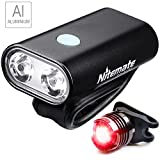Cheap Nitemate Bike Light Set, USB Rechargeable Road Bike Headlight with Free Tail Light, High-Performance Bike Lights Front and Back Combo Sets Fit for All Bicycles