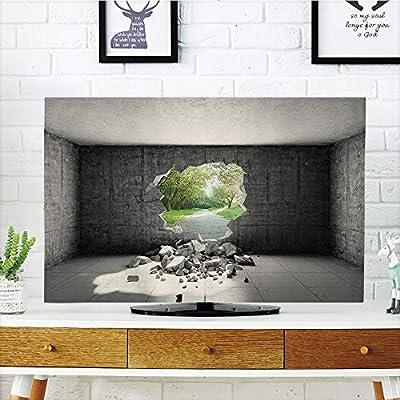 Funda para televisor LCD, Gris, Hojas Grandes Sobre Fondo Floral Antiguo, Estilo dramático, Retro, impresión gráfica, Decorativa, Gris, diseño de impresión 3D Compatible con TV de 32 Pulgadas: Amazon.es: Hogar