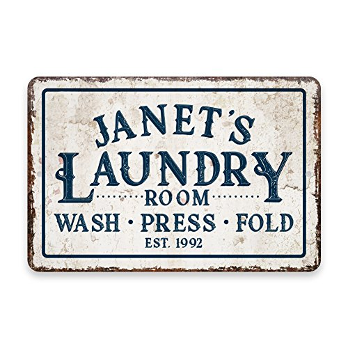Laundry Room Accessories - Personalized Vintage Distressed Look Laundry Wash Press Fold Metal Room Sign