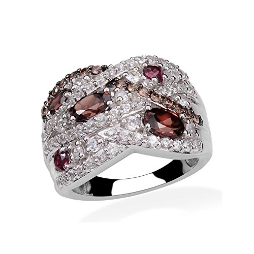Raspberry Zircon, Multi Gemstone Platinum Plated Silver Band Ring 4.1 cttw Size 7 (Garnet Ring Raspberry)