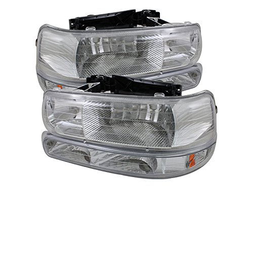 00 Crystal Amber Headlights (Chevy Silverado 1500/2500 / Chevy Silverado 3500 / Chevy Suburban 1500/2500 / Chevy Tahoe Amber Crystal Headlights With Bumper Lights Chrome Housing With Clear)