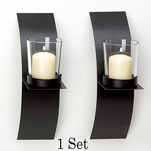 Snl Garth Algar Wig (Mememall Fashion Home Decor Modern Art Candle Holder Wall Sconce Black Wire Metal Plaque Set Pair)