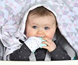 Teething Mitten For Babies is the Ultimate Self-Soothing Teething Toy. Teething Glove is BPA Free, Absorbs Drool & Washable. Adjustable Strap for Teething Babies aged 3-12 Months (Mint Green)