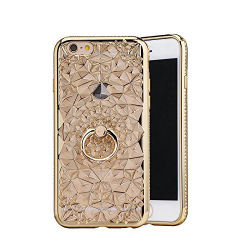 Price comparison product image Moonmini 3D Crystal Flower Pattern Ultra Slim Soft TPU Anti-scratch Case Cover with Luxury Rhinestones Frame and Ring Grip Stand Holder for iPhone 6 Plus / iPhone 6s Plus - Golden
