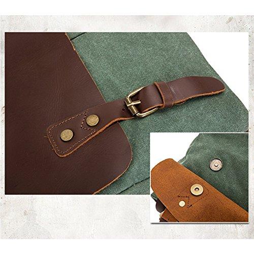 la de Green del de hombro Color de mensajero cuero Green retro de vendimia de la de bolsa lona la mensajero Bolso Bolso zOFwq1w