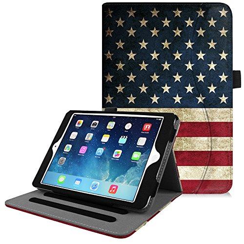 (Fintie iPad Mini/Mini 2 / Mini 3 Case [Corner Protection] - [Multi-Angle Viewing] Folio Smart Stand Protective Cover with Pocket, Auto Sleep/Wake for Apple iPad Mini 1 / Mini 2 / Mini 3, US Flag)