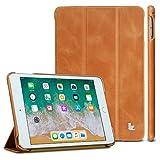 Jisoncase iPad Mini 5 Case 2019 and iPad Mini 4 Leather Case - Genuine Leather Trifold Case - Ultra Slim Smart Cover with Auto Sleep Wake Function for iPad Mini 5 7.9