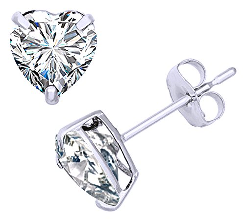 White Cubic Zirconia Heart Shape Stud Earrings In 14K White Gold Over Sterling Silver (1 Ct)