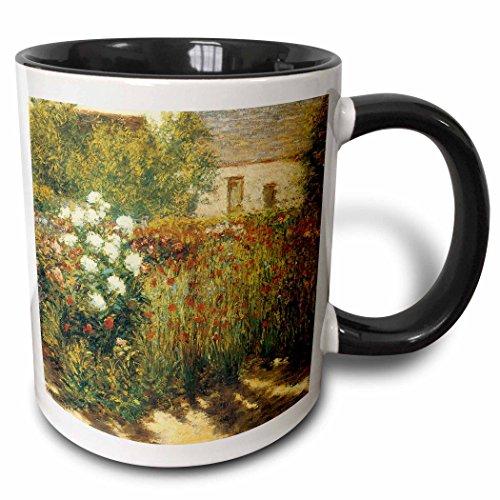 3dRose BLN Impressionist Fine Art Collection - Garden at Giverny by John Leslie Breck - 15oz Two-Tone Black Mug (mug_127308_9)