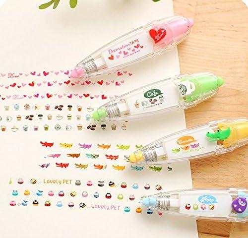 AYRSJCL Green 1pc Cartoon Correction Tape Pen Amour Autocollants Scrapbook Papeterie Artisanat Bricolage Scrapbooking D/écor Tapes Masking Tape Enfants Cadeau