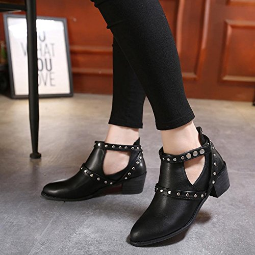 LvYuan-mxx Las mujeres ponen en cortocircuito las botas / el invierno de la caída / el retro Roma / los remaches huecos / los cargadores de Martin / la comodidad ocasional / la oficina y el vestido de BLACK-37