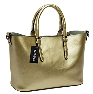 Tibes genuine leather large vacation tote lady handbag purse.