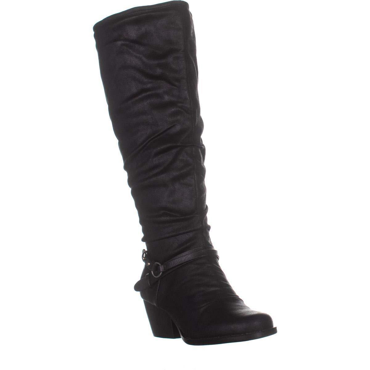 Black Baretraps Roz2 Wide Calf Block Heel Riding Boots, Black