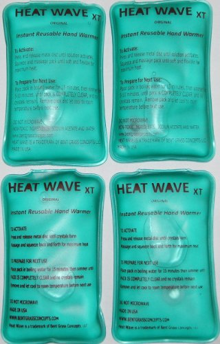 4 HEAT WAVE XT Extra Large, Extra Long Lasting Instant Reusable Hand Warmers / Heat Packs; 3x6 inch - 2 pairs - Premium Quality - Medical Grade - MADE IN USA! (not China)
