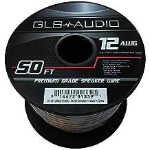 GLS Audio Premium 12 Gauge 50 feet (15.24 meters) Feet Speaker Wire - True 12AWG Speaker Cable 50ft Clear Jacket - High Quality Spool Roll 12G 12/2 Bulk